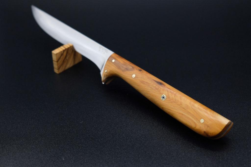 Coltello artigianale in legno con scritta personalizzata su lama - 'L Cotel - Alba Coltelleria - Gioel Terlizzi