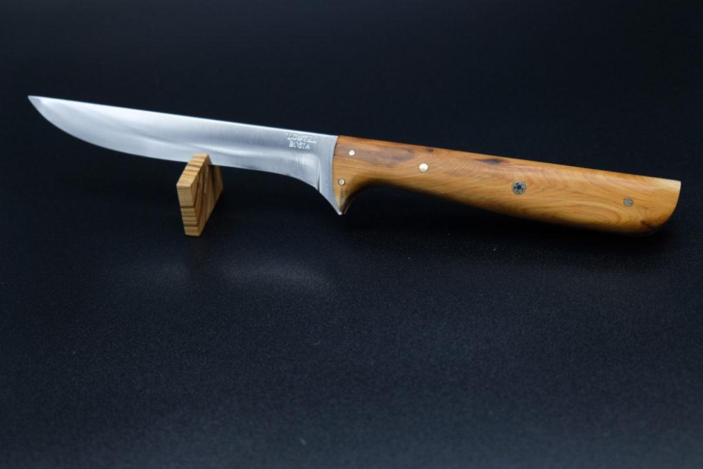 Coltello artigianale con manico in legno con scritta personalizzata su lama - 'L Cotel - Alba Coltelleria - Gioel Terlizzi