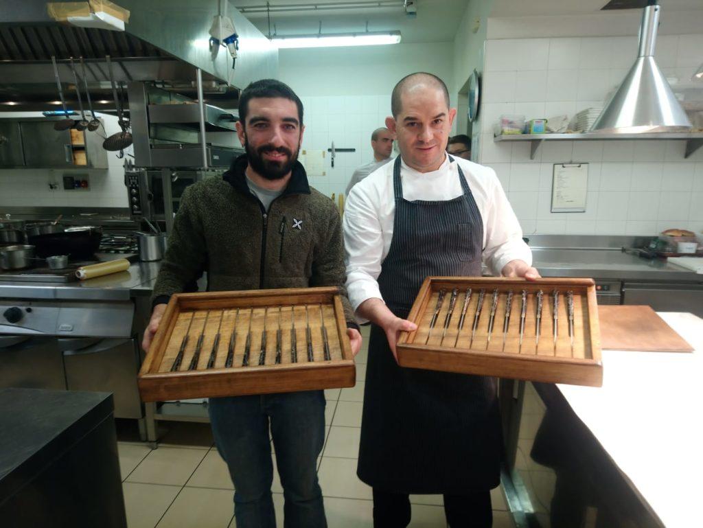 Consegna coltelli da tavola Chef Damiano Nigro, Relais Villa d'Amelia.